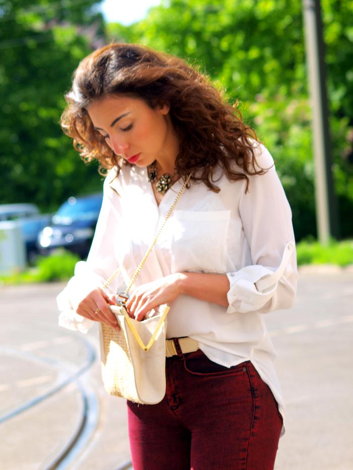 outfit asos ridley oxblood jeans and silky blouse white stradivarius sandals details bag