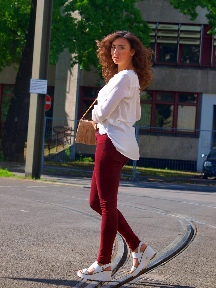 outfit asos ridley oxblood jeans and silky blouse white sandals complete