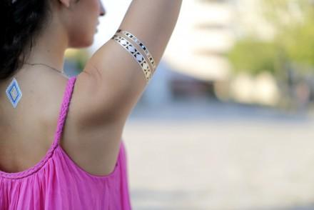 Metallic Flash Tattoos Gold Fake Tattoos Fake Tattoos Pink Silk Dress Maxi Dress Silk