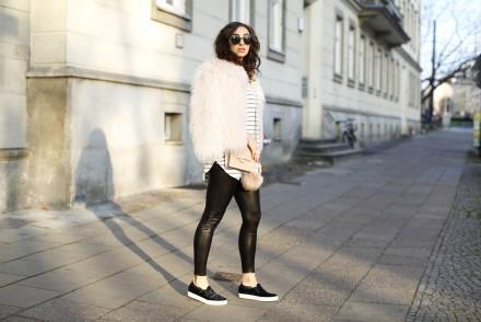 Zara Faux Fur Jacket leather leggings septum layering Goretex Slip on shoes slipper kennel und schmenger streetstyle winter street outfit fashionblog modeblog samieze