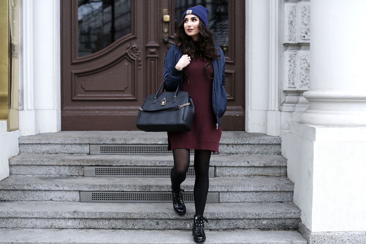 bomber jacket winter look bomber coat uterque boots outfit booties blog outfit rollneck dress turtleneck carhartt beanie streetstyle justfab bag review quality samieze hoch komplett