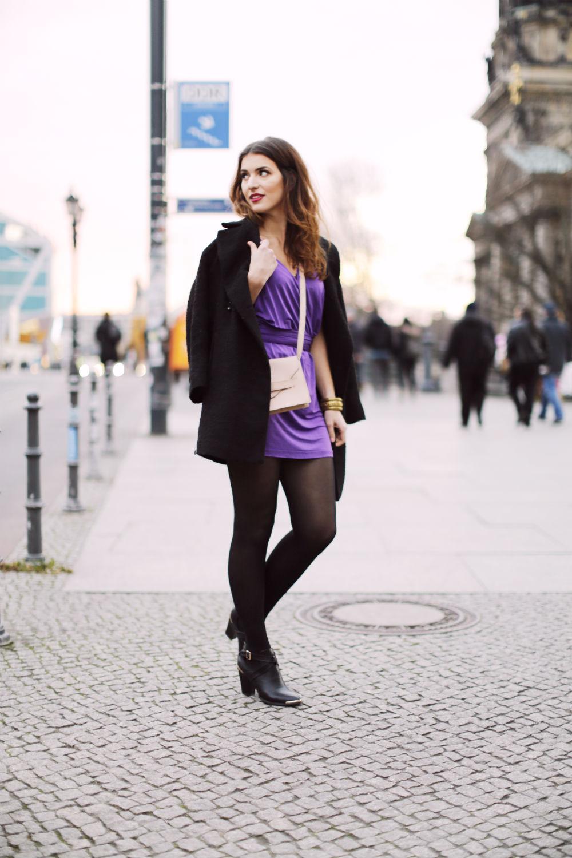 Black Dress Purple Heels