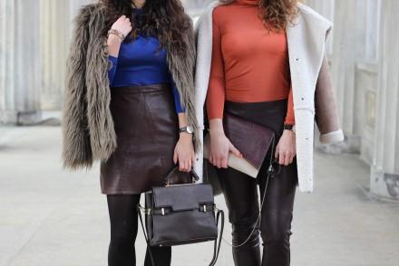Only Brown Faux Fur Jacket and Skirt Leather Skirt Zara Streetstyle Fashionblog Outfit Blogpost Samieze Fashionweek Retro JustFab Bag qualitiy cobalt brown
