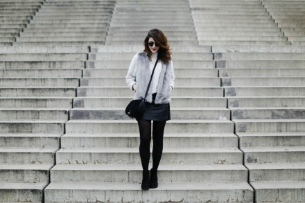 faux fur vest fake leather mini skirt cut outs oasis satchel bag suede botties knitted jumper turtle neck h&m