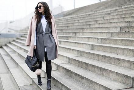 sleeveless coat oasis blush winter coat pink waistcoat oversize shirt layerng justfab bag streetstyle fashionblog fashionblogger modeblog berlin samieze winter outfit