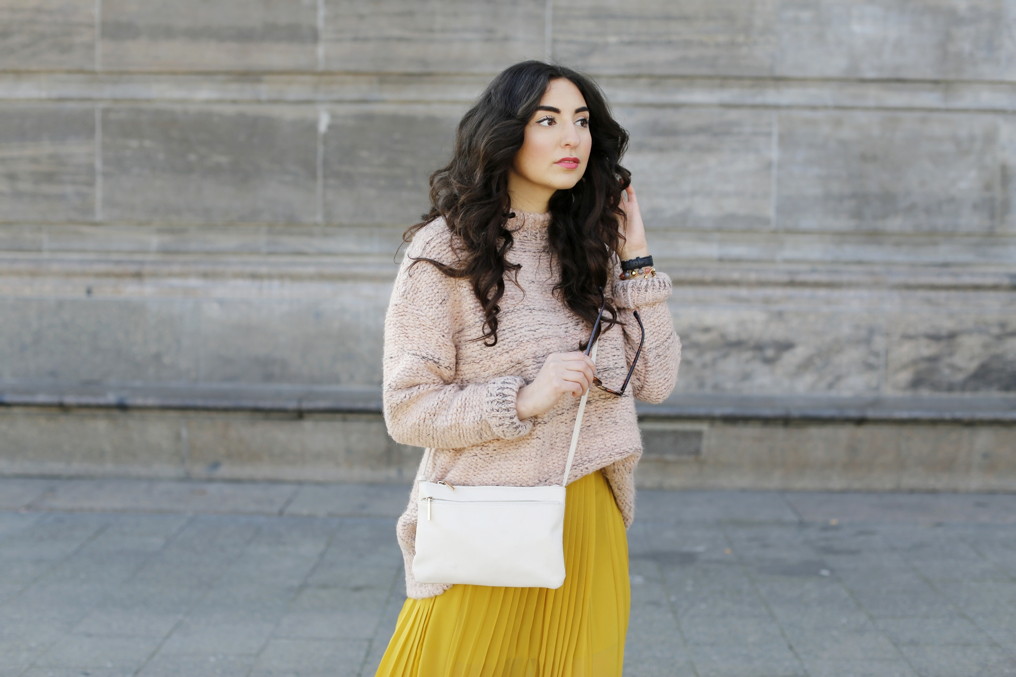 Spring look with soft candy colours including a Yellow Silk Skirt from Stefanel, a chunky blush sweater from mango and adidas superstars sneakers.