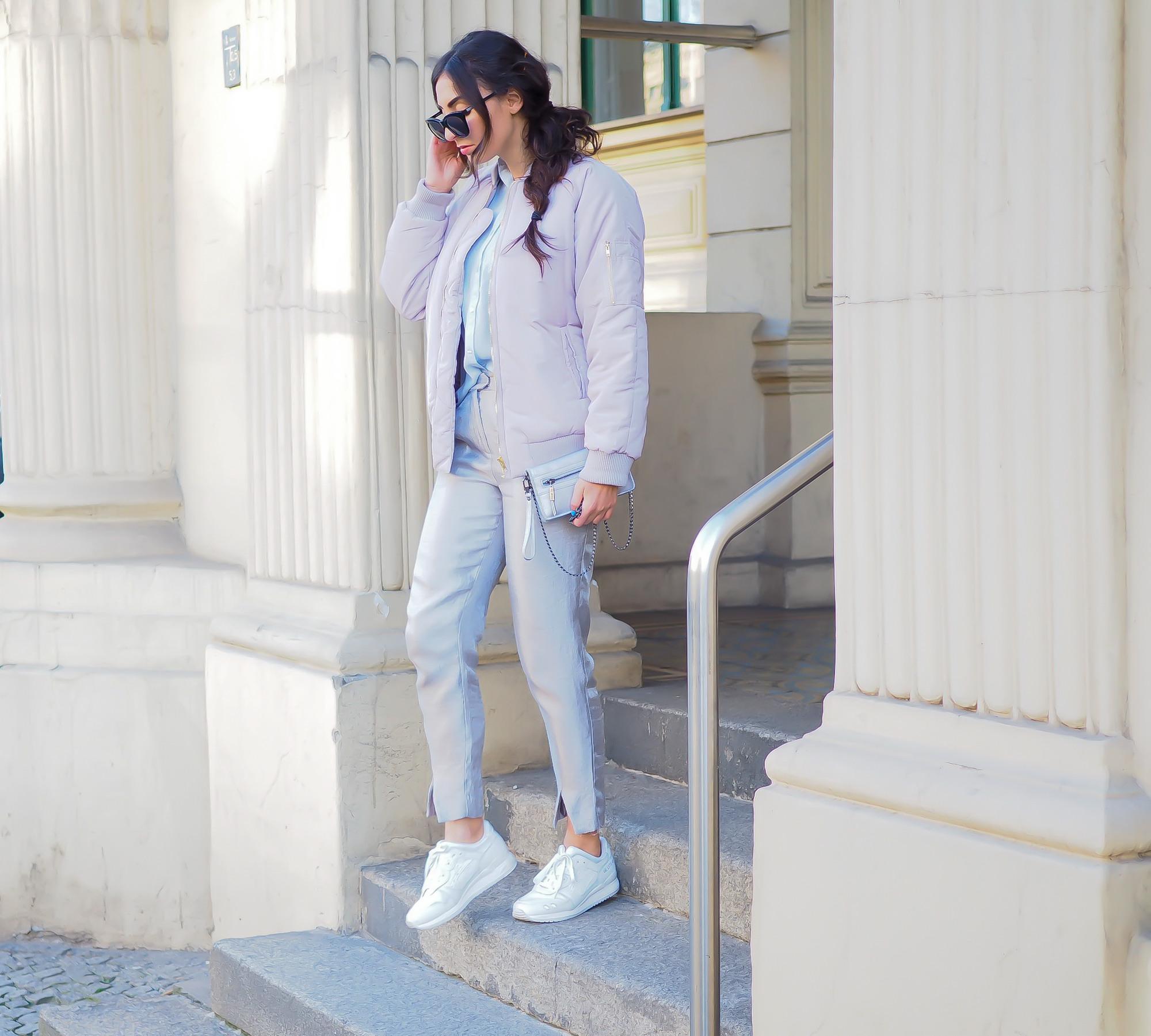 boohoo pastel lilac bomber quilted blouson trend silver pants H&M cigarette zigarettenhose light blouse bag minimal scandinavian spring look samieze fashionblog blogger deutschland streetstyle asics gel lyte women