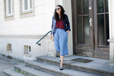 Mango Denim Culottes Butterfly Twist pointed ballerinas ballet shoes Strappy Top Topshop Leather Jacket Hosenrock Jeans Summer Style Spring Berlin Streetstyle Samieze
