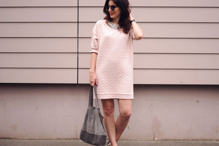 Monki Pink Sweater Dress Spring Summer bare legs pointed shoes streetstyle