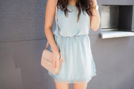 Mango Lace Coordinate Set Co-Ord Cami Camisole Silk Skirt Miniskirt Summer Look light blue outfit sommerlook streetstyle samieze modeblog inspiration chucks black converse allstars high
