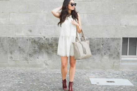 taupe oasis shoppe mango lace minidress zara lace-up sandals bordeaux high heelsBerlin Fashion Week Outfit le specs halfmoon magic sunglasses girl streetstyle modeblog berlin samieze
