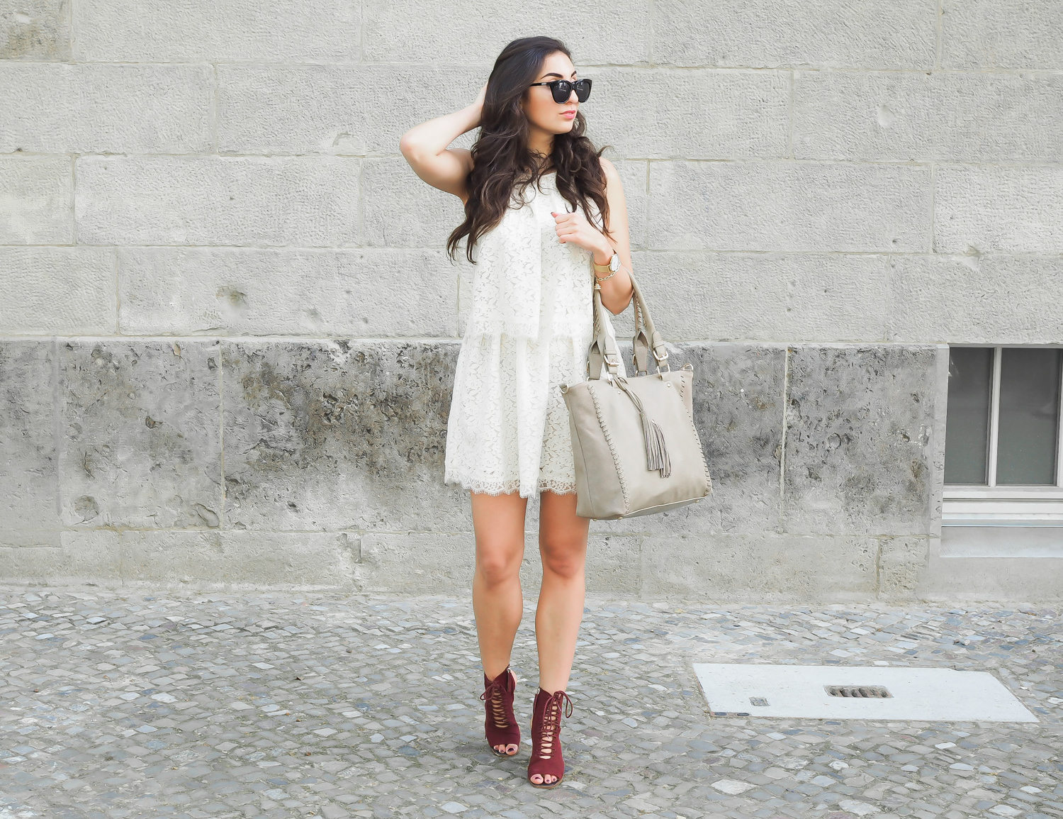 taupe oasis shoppe mango lace minidress zara lace-up sandals bordeaux high heelsBerlin Fashion Week Outfit le specs halfmoon magic sunglasses girl streetstyle modeblog berlin samieze