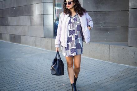 lavender lilac bomber jacket striped shirt dress outfit mango kleid boohoo bomberjacke inspiration fashion deutschland summerlook fall fashionblogger samieze berlin mode blog