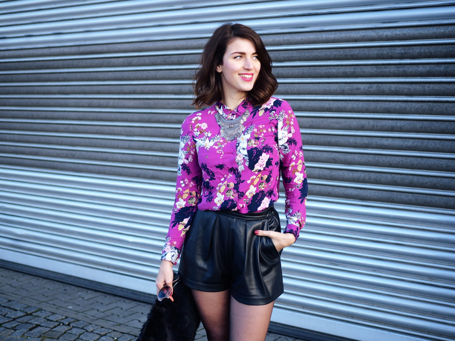 floral shirt and leather shorts fashion blog from berlin. Black Bedroom Furniture Sets. Home Design Ideas