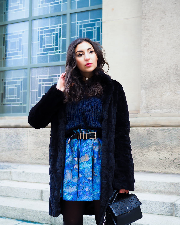 Berlin Fashion Week Winter Outfit mbfwb fashion week berlin januar january look skater skirt H&M trend faux fur coat dorothy perkins skaterrock strumpfhose derbe stiefel boots uterque streetstyle berlin blogger deutschland modeblog samieze-2