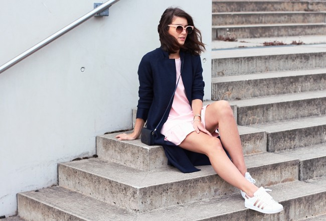pink ruffle dress reserved shift fitted coat blue color trend 2017 how to wear style streetstyle berlin blog samieze adidas superstar