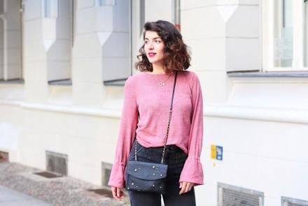 pink ruffled sweater nakd fashion cookbook berlin streetstyle samieze styling fall autumn fashion