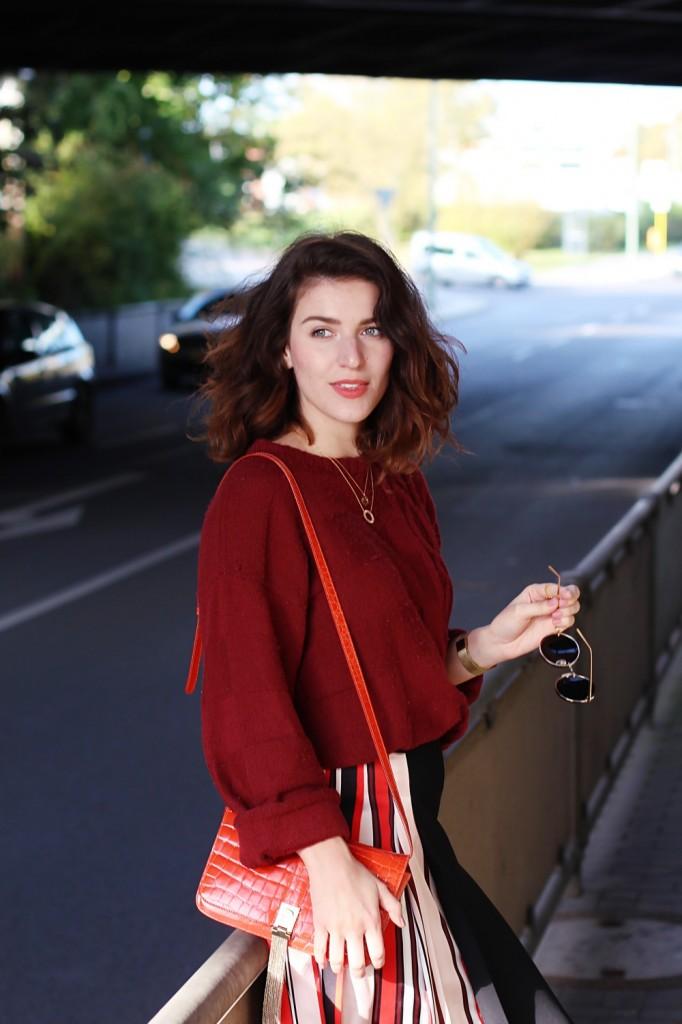 Striped Skirt   Red Jumper