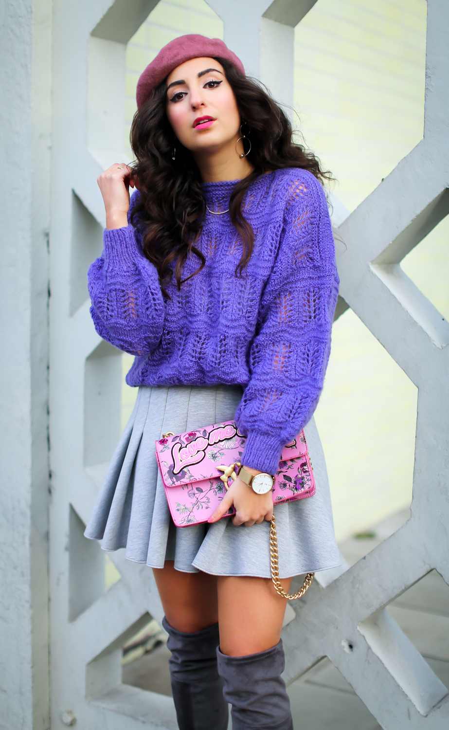 Mixing Pink and Purple | Skater Skirt and Overknees