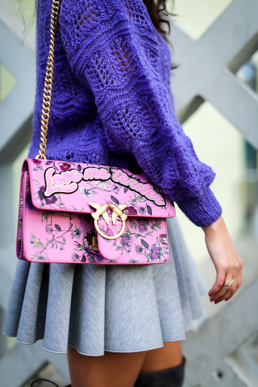 grey overknees skater skirt pink beret vintage sweater purple streetstyle baskenmütze rosa kombinieren mode blog samieze berlin_-2