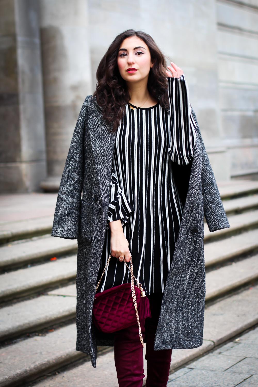 Burgundy Overknees and Knitted Skater Dress