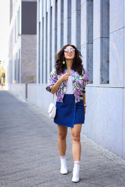 White Boots and Denim Mini Skirt