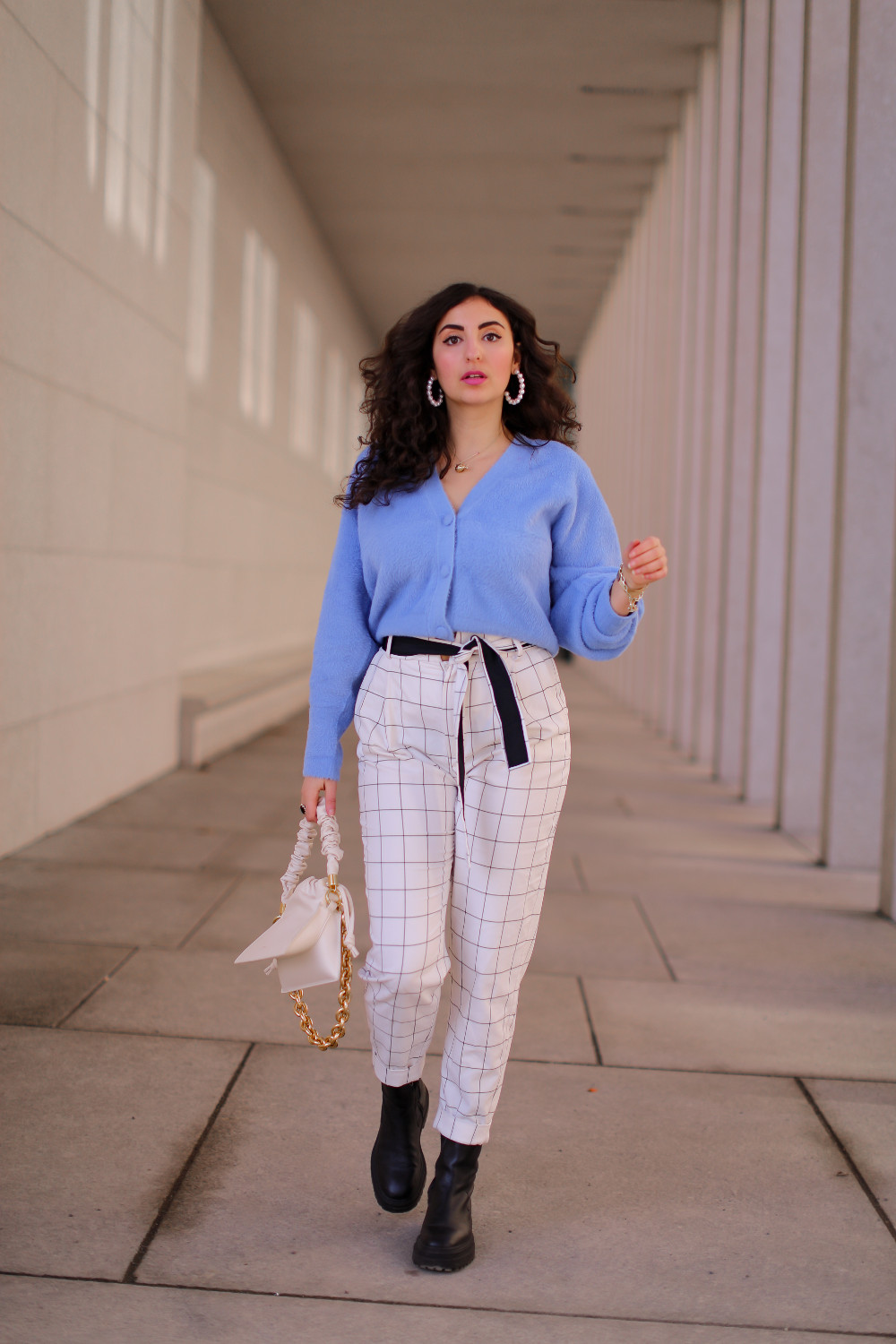 cropped cardigan spring style white pants 2021 sacha chucnky boots samieze outfitpost