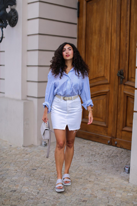white denim mini skirt oversized blouse elegant transitional look autumns 2021 6